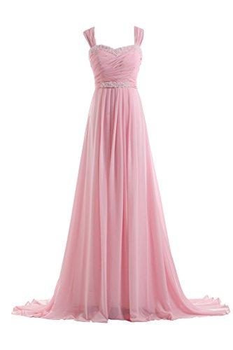 Victory bridal 2–support élégant abendkleider long chiffon ball/promkleider brautjungfernkleider partykleider Rose - Rose