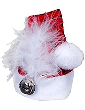 Alsino Mini Weihnachtsmütze Nikolausmütze mit Haarclip, Glocke, Feder und Pailetten rot 132