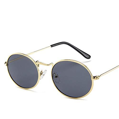 GJYANJING Sonnenbrille Damen Klassische Rosa Reflektierende Oval Sonnenbrille Frauen Männer Retro Metallrahmen Wrap Beschichtung Spiegel Sonnenbrille Für Frau
