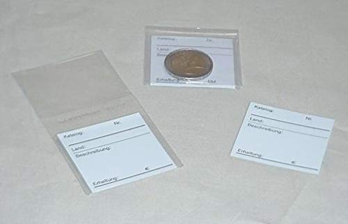 KOBRA Doppel-Münztaschen FT2 für eine Münze, Beschriftungskärtchen, per 25, 50, 100, 1000 Stück zur Auswahl (3. 100 Taschen inkl. Kärtchen FT2) -