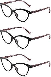 JM 3 Pack Mode Designer Katzenauge Lesebrille Federscharnier Brillen für Leser Damen +2.25 Schwarz -