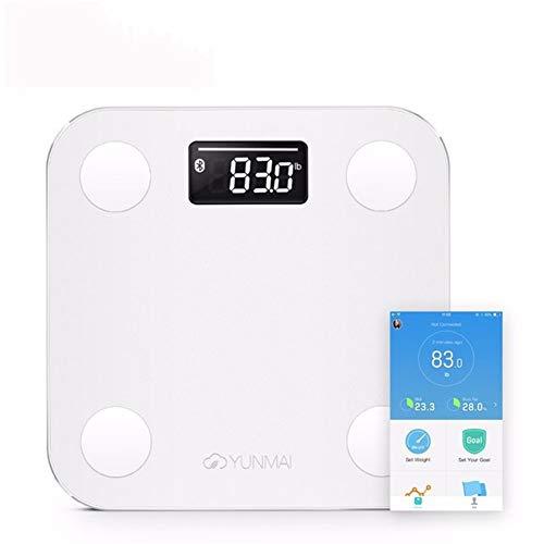 WANGHEN-Bathroom scale Bianco Smart Mini Bilancia Domestica Antiscivolo Bilancia Piano Percentuale di Grasso Digital Body Fat Scala Durable (Color : White)
