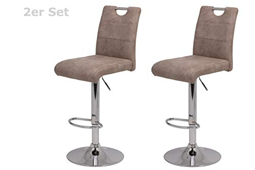 2er Set Barhocker Miranda, Bezug Vintage Beige, Metallfuß Chrom, Trompetenfuß, drehbar 360°