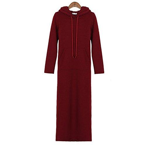 Autunno Inverno addensare Vestito lungo liberamente più le donne velluto di copertura abito maglione con cappuccio coreano calorosamente (XL, rosso)