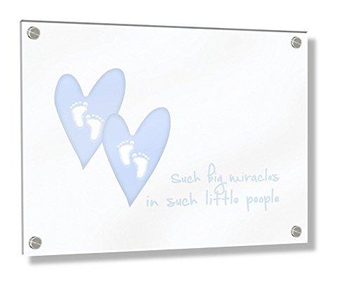 ontiert Acryl Rahmen mit Stand-Off Schrauben (30x 20x 0,6cm, klein, Baby Blau, So Big Wunder in diesen Little People/Twins Kinderzimmer Dekor) ()