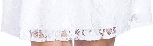 Balleay Robe de demoiselle d'honneur Fleur Robe de fille Dentelle Une Epaule Robes Midi Personnalisation Robe BA 6799 Blanc