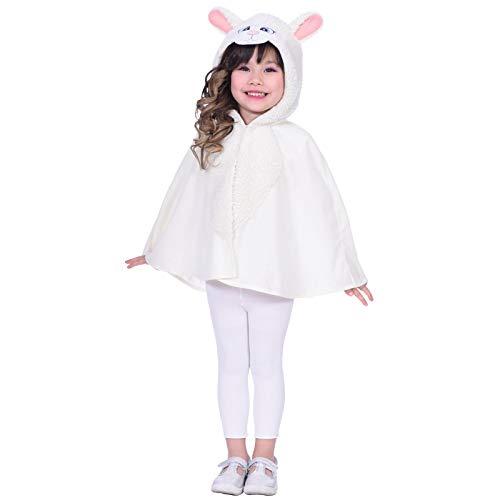 amscan- Sheep Cape Years Disfraz, Color blanco, 4-6 años (9904081)