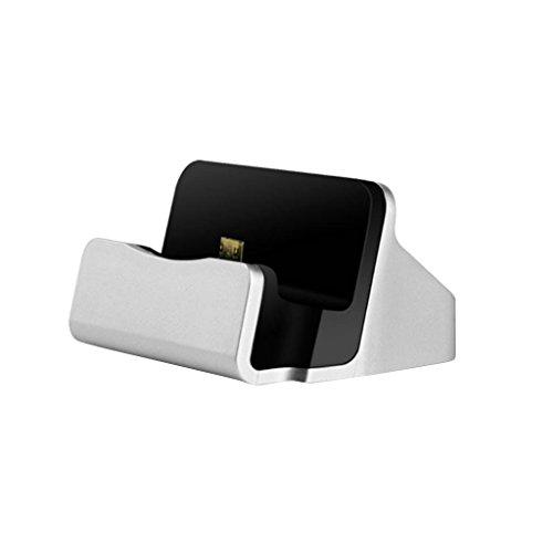 Base de Carga y Sincronización Micro USB Cargador para Android Teléfono Móvil - Plata