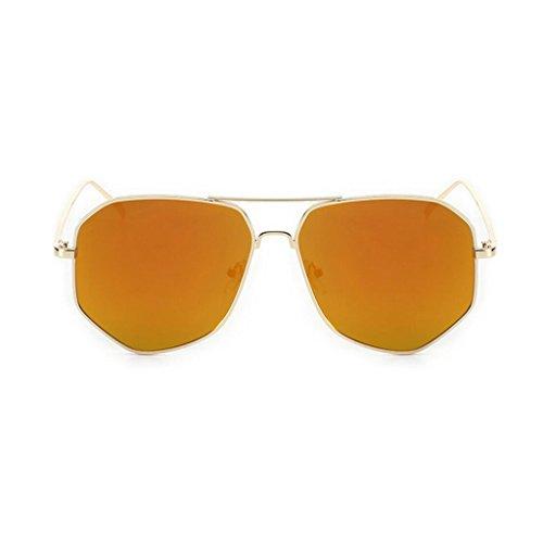 RYRYBH Sonnenbrille Persönlichkeit Polygonal Sonnenbrille Reiten Rudern Metallrahmen Brille UV-Schutz Sonnenbrille Sonnenbrille (Farbe : Orange, größe : One Size)