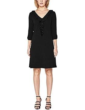 s.Oliver BLACK LABEL Damen Crêpe-Kleid mit Volant-Ausschnitt