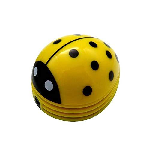 Yx-outdoor Mini Ladybug Desktop Desktop-Staubsauger, gereinigtes Desktop-Staubkonfetti und Metallspäne, batteriebetrieben,Yellow