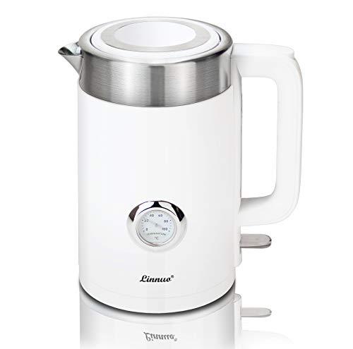 Linnuo Wasserkocher Edelstahl Wasserkocher mit Temperaturanzeige 1.7 L 2200 W Kalkfilter BPA-frei Zubereitung Tee Kaffee Babynahrung doppelwandig cool touch kettle Edelstahl/Kunststoff/Weiß