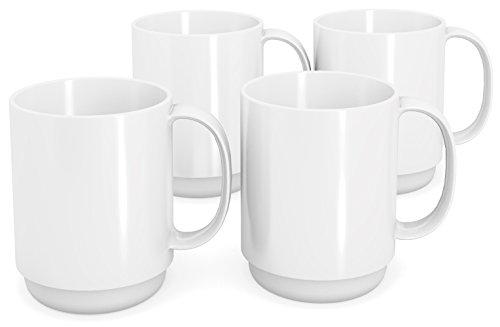 Ornamin Becher mit Henkel 300 ml weiß 4er-Set (Modell 510) / Mehrweg-Becher Kunststoff, Kaffeebecher