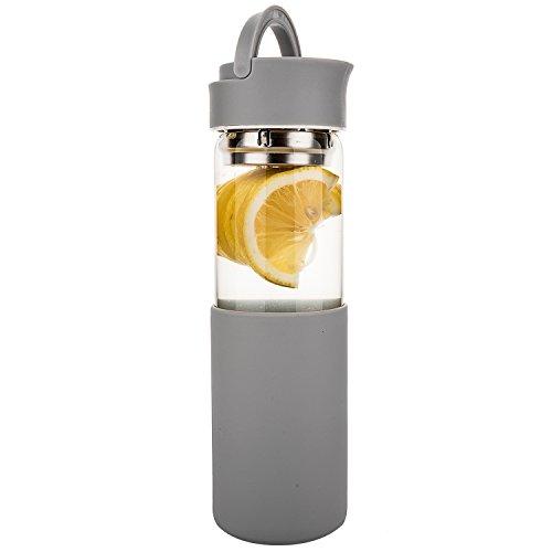 Life4u Trinkflasche Glas,Borosilikatglas Wasser Flasche mit Silikon Sleeve & Abnehmbare Sieb, 510 ml,Grau