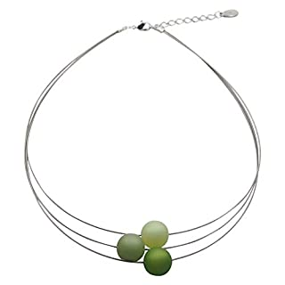 perla pd design Necklace – Necklace Made of Genuine Polaris Pearls PKD Approx. 45 cm + 4.5 cm Handmade Mittelgrün-schilfgrün-Mint