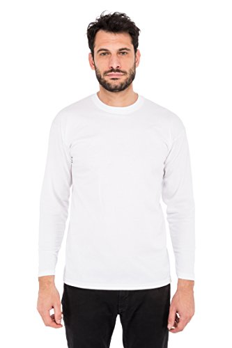 Fruit of the Loom Value Weight Ls T, T-Shirt Uomo Bianco (Bianco)