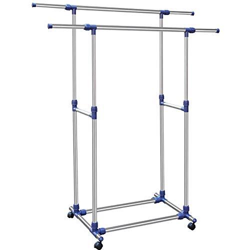 Bakaji stand appendiabiti doppio regolabile in acciaio, aste telescopiche, facile da montare con 4 ruote, stender esposizione negozio, appendiabiti professionale acciaio