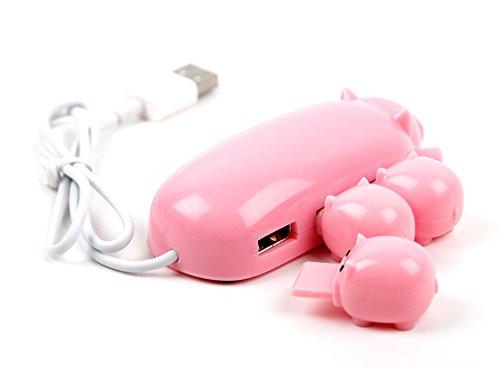 Nextbook 2-in-1 (Pinker Verteiler im Schwein-Design mit 3 USB-Anschlüssen für Nextbook Flexx 11.6