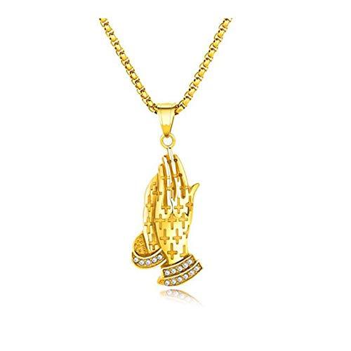 YFFFY Gebet Hand Anhänger,Halskette aus Edelstahl,Anhänger Halskette,Bibel Vers Gebetskette Schrift Anhänger,Kettenlänge 55cm Anhänger Größe 40mm Goldstahl