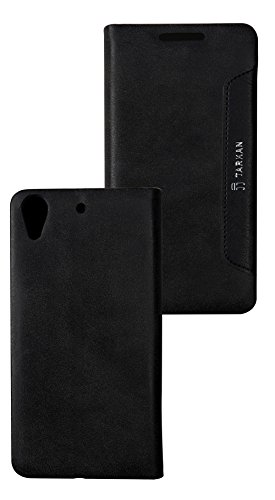 Tarkan Authentic Smart PU Leather Magnetic Flip Case Cover with Convertible Back Stand For HTC Desire 626G Plus (626G+) - Black