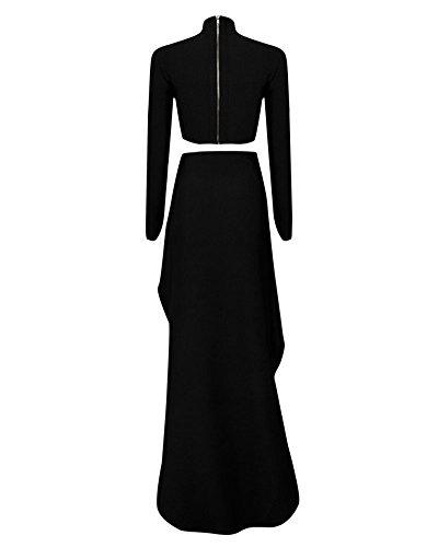 Whoinshop Frauen 2 Stück Langarm-High Neck-Verein-Kleid mit Oberschenkel Split Schwarz