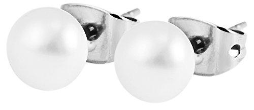 Akzent Titan Ohrstecker in Titanfarbig Gehalten mit Kunstperlen Besatz und Steckverschluss Durchmesser 6mm 4250000160