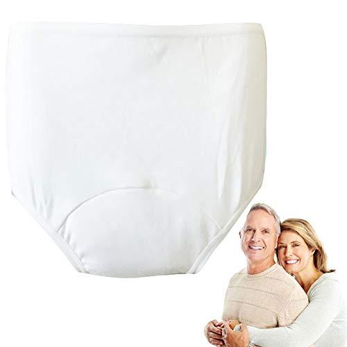 Ning Harninkontinenz Unterwäsche für ältere Damen Menstruation Schutzhosen Wiederverwendbar Inkontinenz Slips Baumwolle,White,XXL
