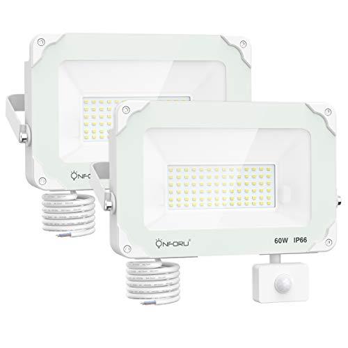 Onforu 2er Pack 60W 6000LM LED Strahler mit Bewegungsmelder, LED Außenstrahler Fluter, 5000K Tageslichtweiß IP66 Wasserfest, Ideale Außenbeleuchtung für Garten, Garage, Hof - Weiß -