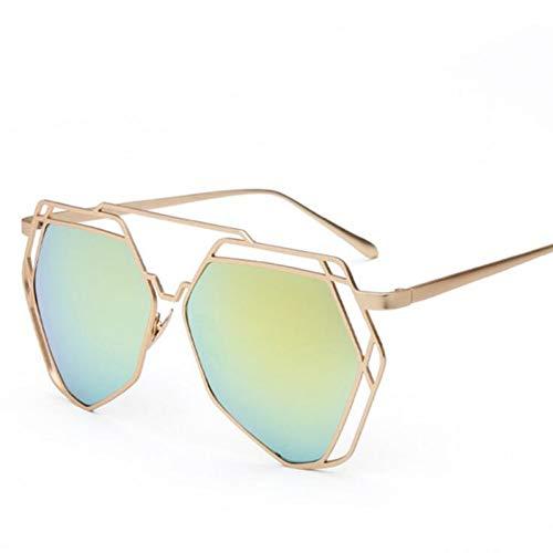 GJYANJING Sonnenbrille New Fashion Polygon Hohl Sonnenbrille Blau Grün Schwarz Klar Abgetönte Dame Metallrahmen Anti-Reflektierende Frauen Sonnenbrille