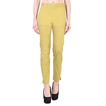 Jenee Ventures Stretchable Cotton Lycra Blend Straight Slim Fit Pant for Women
