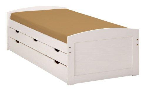 funktionsbett kinderzimmer Inter Link Bett Funktionsbett Kinderbett Einzelbett Stauraumbett modernes Bett Kiefer massiv Weiss lackiert