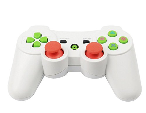 Vicstar Bluetooth Wireless Gamepad Controller Doppelte Vibration Game-Controller für PS3 Playstation 3 - Double Shock 3 Wireless Controller - White