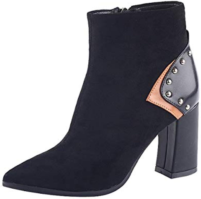 KOKQSX-ha testa tacco alto 8cm spesso a breve gli stivali rivetti ma dingxue. 35 nero | Abbiamo Vinto La Lode Da Parte Dei Clienti  | Scolaro/Ragazze Scarpa