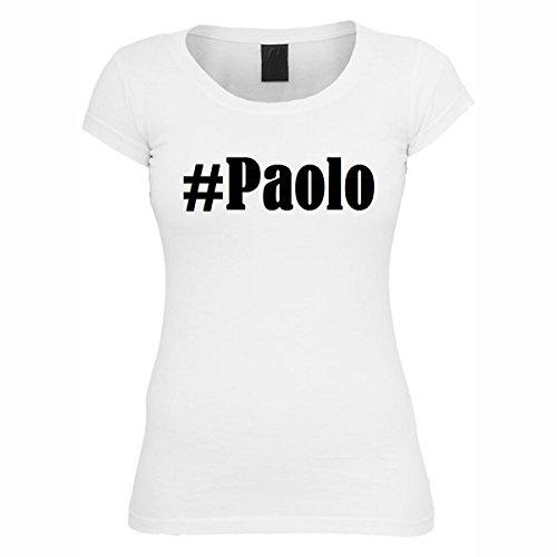 T-Shirt #Paolo Hashtag Raute für Damen Herren und Kinder ... in den Farben Schwarz und Weiss Weiß