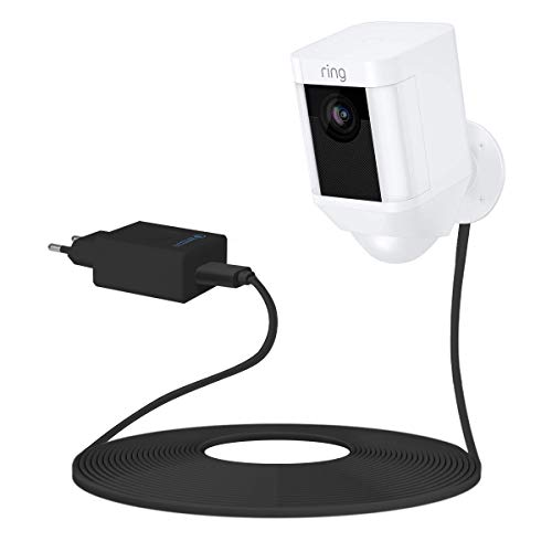 Netzteil Adapter für Ring Spotlight Cam Battery,LANMU 6M Kabel und USB Ladeadapter für Ring Spotlight Cam Batterie Sicherheitskamera (Schwarz) Cam-kabel