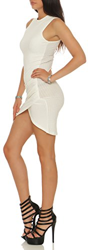 malito Damen Kleid ärmellos | figurbetontes Abendkleid | elegantes Partykleid | Etuikleid �?Minikleid 8166 Weiß