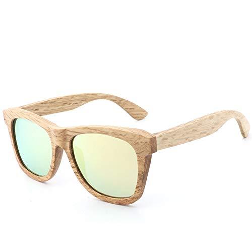 Easy Go Shopping Polarisierte Brille für männer und Frauen Vintage echte Bambus Arme Brille Retro Bambus Holz Sonnenbrille Sonnenbrillen und Flacher Spiegel (Color : Gold, Size : Kostenlos)