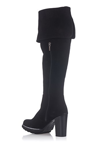 Laura Moretti Damen Musketeer High Boot Above The Knee and Sole Heeled Platform Stiefel Schwarz