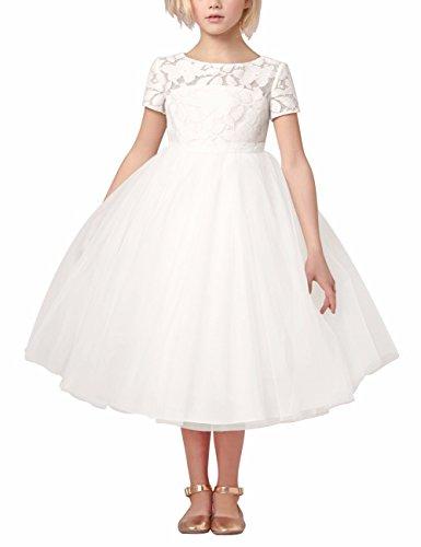iEFiEL Festliches Mädchen Kinder Kleid Prinzessin Brautjungfern Partykleid  Hochzeit Festzug Kleidung 92 104 116 128 140 Weiß 116 b79b324b2f