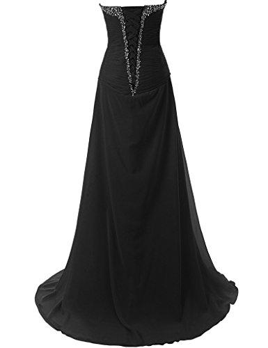 JAEDEN Traegerlose Chiffon Lange Ballkleider Damen Formale Abendkleider Festkleid Gelb