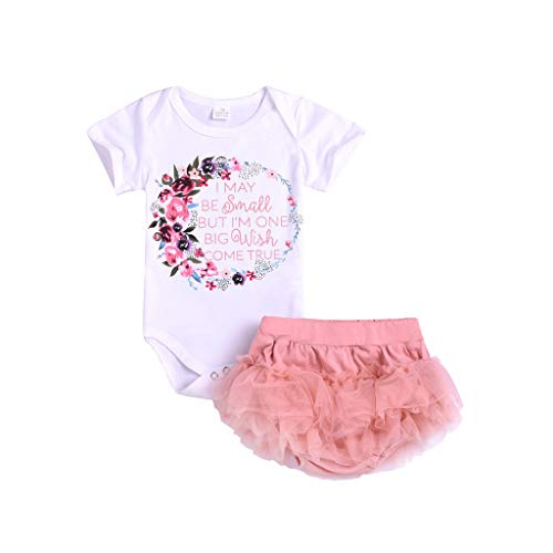 (Kids Baby Floral Letter Romper Bodysuit+Tutu Dress Sets Girl Outfits Clothes Baby Mädchen Geburtstag Set Romper + Ballettröckchen Party Kleid 0-3 Jahre)