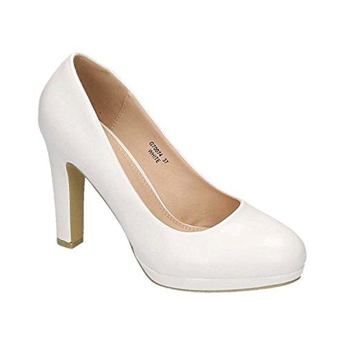 Klassische Damen Pumps Stilettos High Heels Plateau Abend Party Schuhe Bequem 074 (38, Weiß)