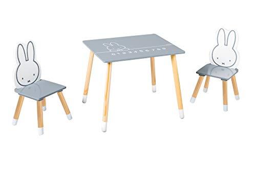 roba Kinder Sitzgruppe miffy, Kindermöbel Set aus 2 Kinderstühlen & 1 Tisch, Sitzgarnitur, Holz, dunkelgrau, weiß, lackiert