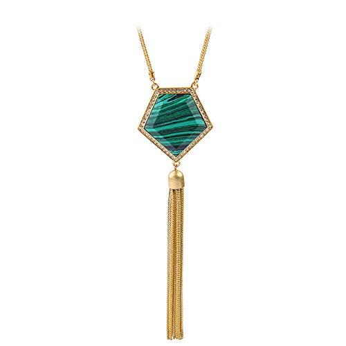 Halskette Grüne Quaste Anhänger Schlangenkette Goldenes Kostüm Ornament Lange ()