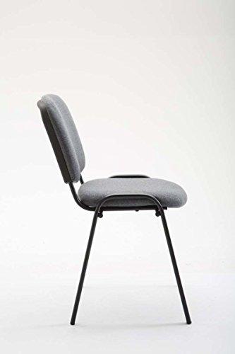 CLP Konferenzstuhl KEN V2 mit Stoffbezug und hochwertiger Sitzpolsterung | Robuster und stapelbarer Besucherstuhl | In verschiedenen Farben erhältlich Grau - 4