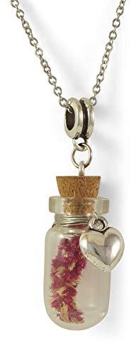 Damen Halskette aus Edelstahl mit Glasflaschen-Anhänger und silbernem Herzen | Kette mit mini Korkflasche/Glasanhänger zum Befüllen | Memorial Glas Anhänger | Karabiner-Verschluss (Glas Flasche Anhänger Halskette)