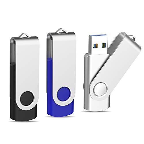 Topesel USB-Stick 32GB Speicherstick USB 3.0 Memory Stick 3 Stück Flash Drive USB-Flash-Laufwerk Pen Drive 360° Drehbar Design mit Metalldeckel USB-Speicher-Stick Schwarz, Silber, Blau