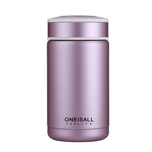 oneisall Essensbehälter aus Edelstahl 400ml Thermos, leak-poof Reise Becher für weiblich, Tee Kaffee Tasse für Outdoor/Camping oder mehr, Business isoliert Wasser Flasche mit Tee-Ei als Geschenk rose - Thermoskanne-leak-proof-reise-becher