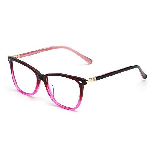 JIM HALO Platz Nicht Verschreibung Brillen Klar Linsen Gläser Damen Herren Roter Farbverlauf Rosa