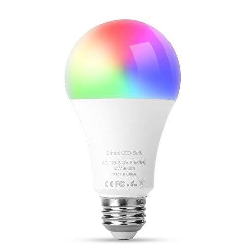 E27 Smart LED-Lampen, SS SHOVAN 10W Buntes Dimmbar WiFi LED Glühbirne Voice Kontrolle Farbwechsel Lampe Kompatibel mit Google Assistant, Alexa und IFTTT, 900 Lumen [Energieklasse A]